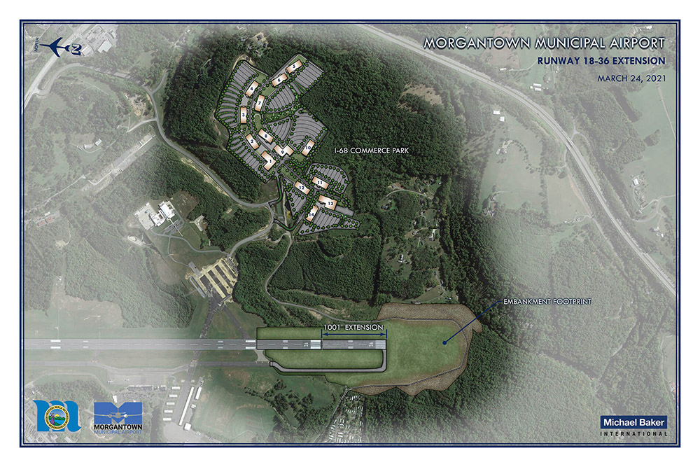 Map of the plan for the Runway Extension Project