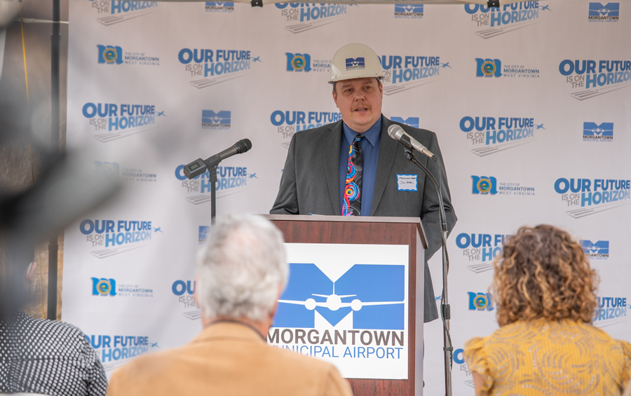 Jonathon Vrabel, Director of Morgantown Municipal Airport, addresses the crowd at the MGW Runway Extension Project Groundbreaking Ceremony.